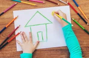 kid draws the child care center where she stays overnight