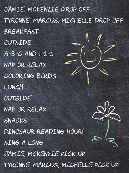 affordable childcare center shows today's schedule